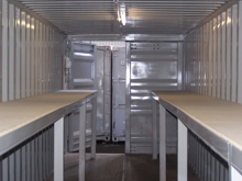 Steel Container with Shelves for Documents in a Dry Building